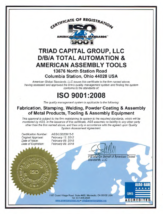 Iso 90012008 Certification American Assembly Tools